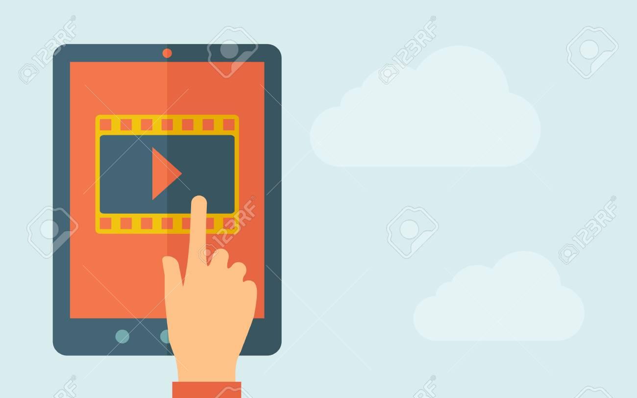 Eine Hand Berührt Den Bildschirm Eines Tablet Mit Film-Symbol. Ein ...