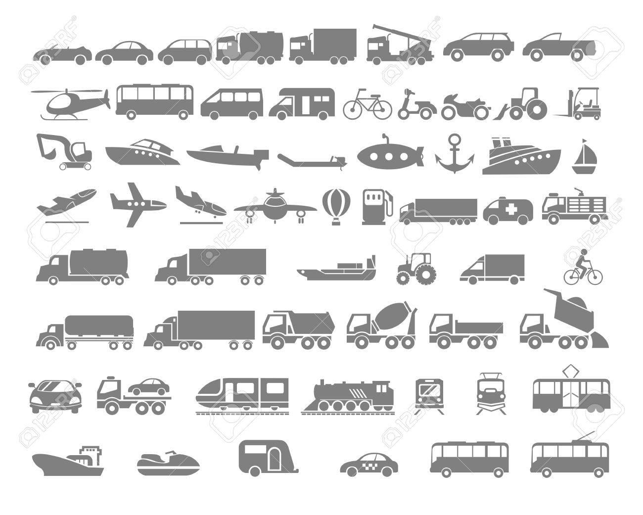 Vehicle and Transportation flat icon set. Vector flat design illustration. - 39178307