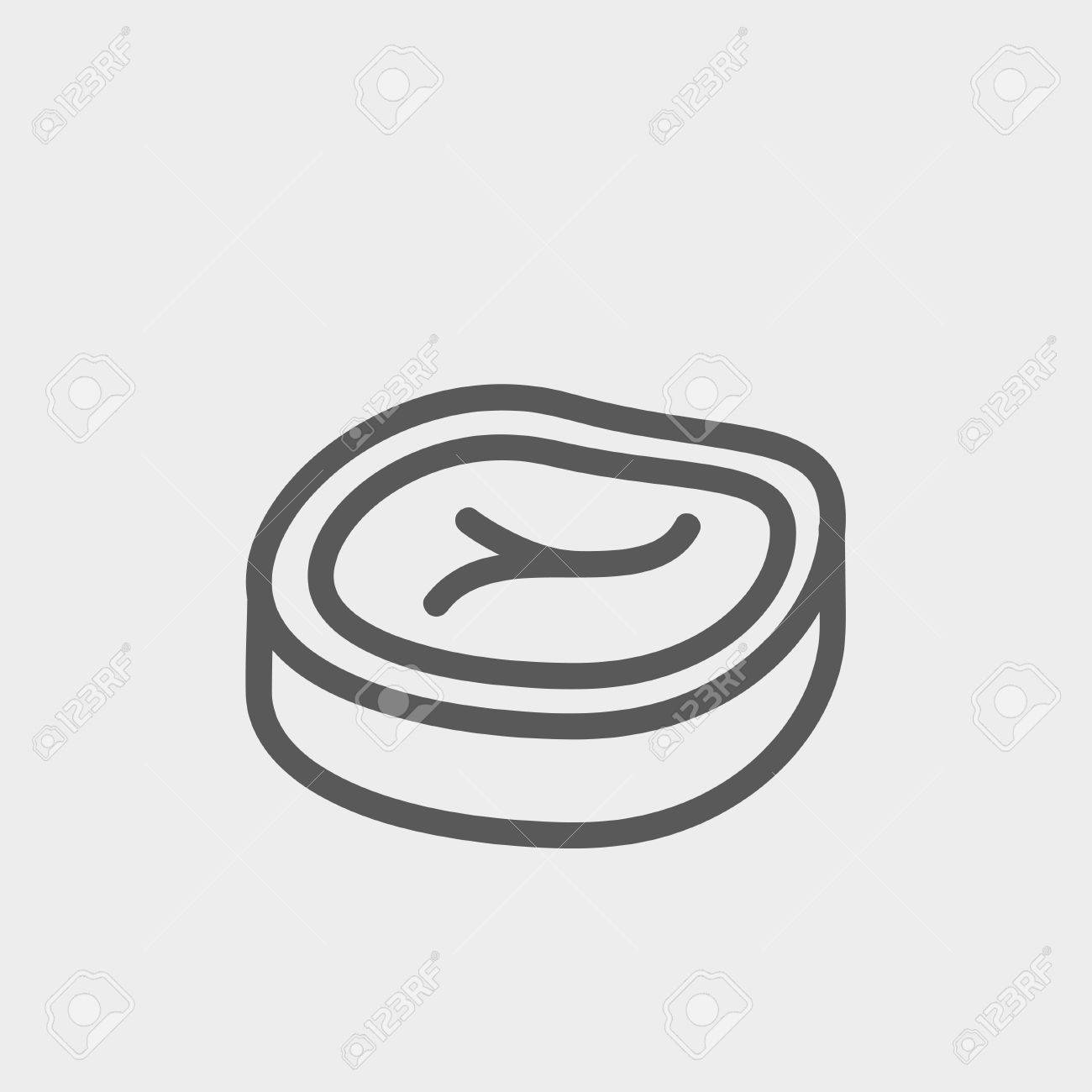 Sliced Pork Meat Icon Thin Line For Web And Mobile Modern Minimalistic Flat Design