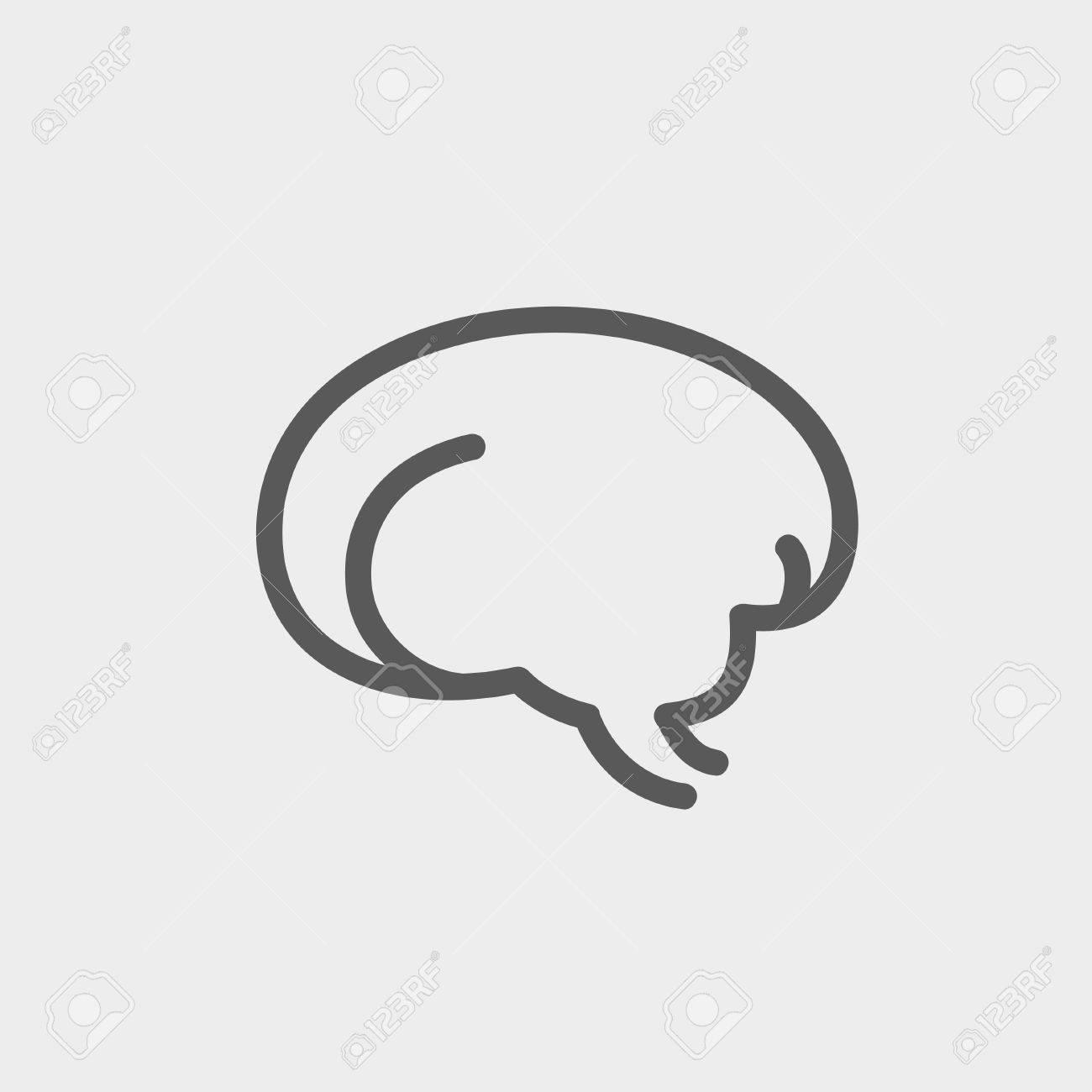 Icono Cerebro Delgada Línea Humano Para Web Y Móvil, Diseño Plano ...