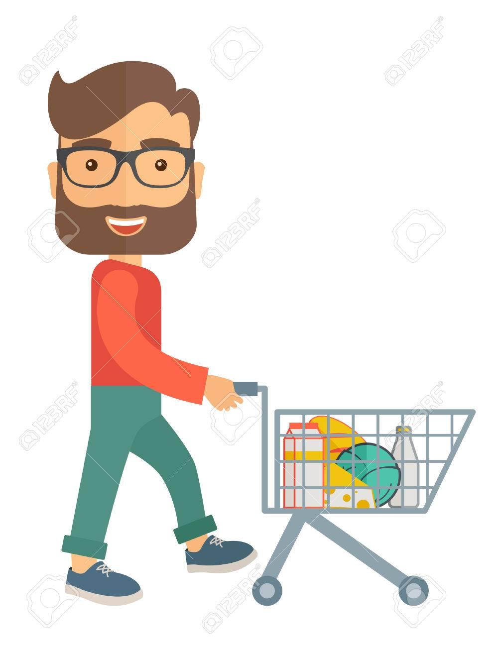Un acheteur mâle poussant un panier à l'intérieur du supermarché. Un style contemporain. Vector design plat illustration sur fond blanc isolé. Présentation verticale. Banque d'images - 39691878
