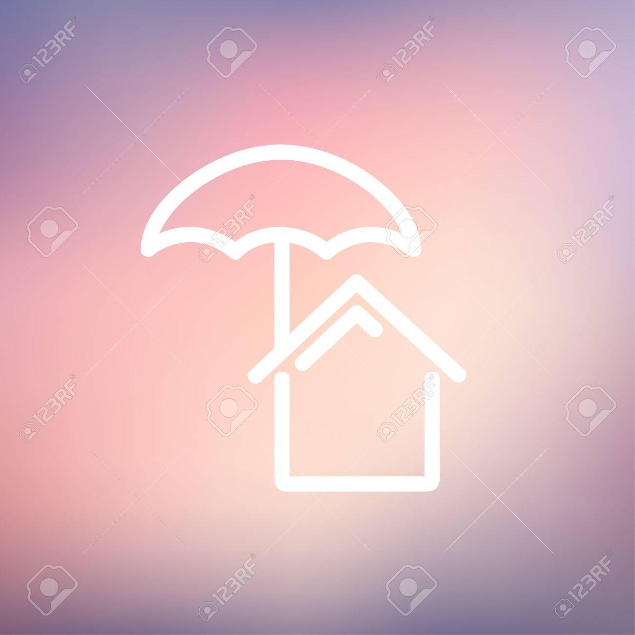 foto de archivo icono de seguro de la casa delgada lnea para web y mvil diseo plano minimalista moderno vector icono blanco sobre fondo de malla de with