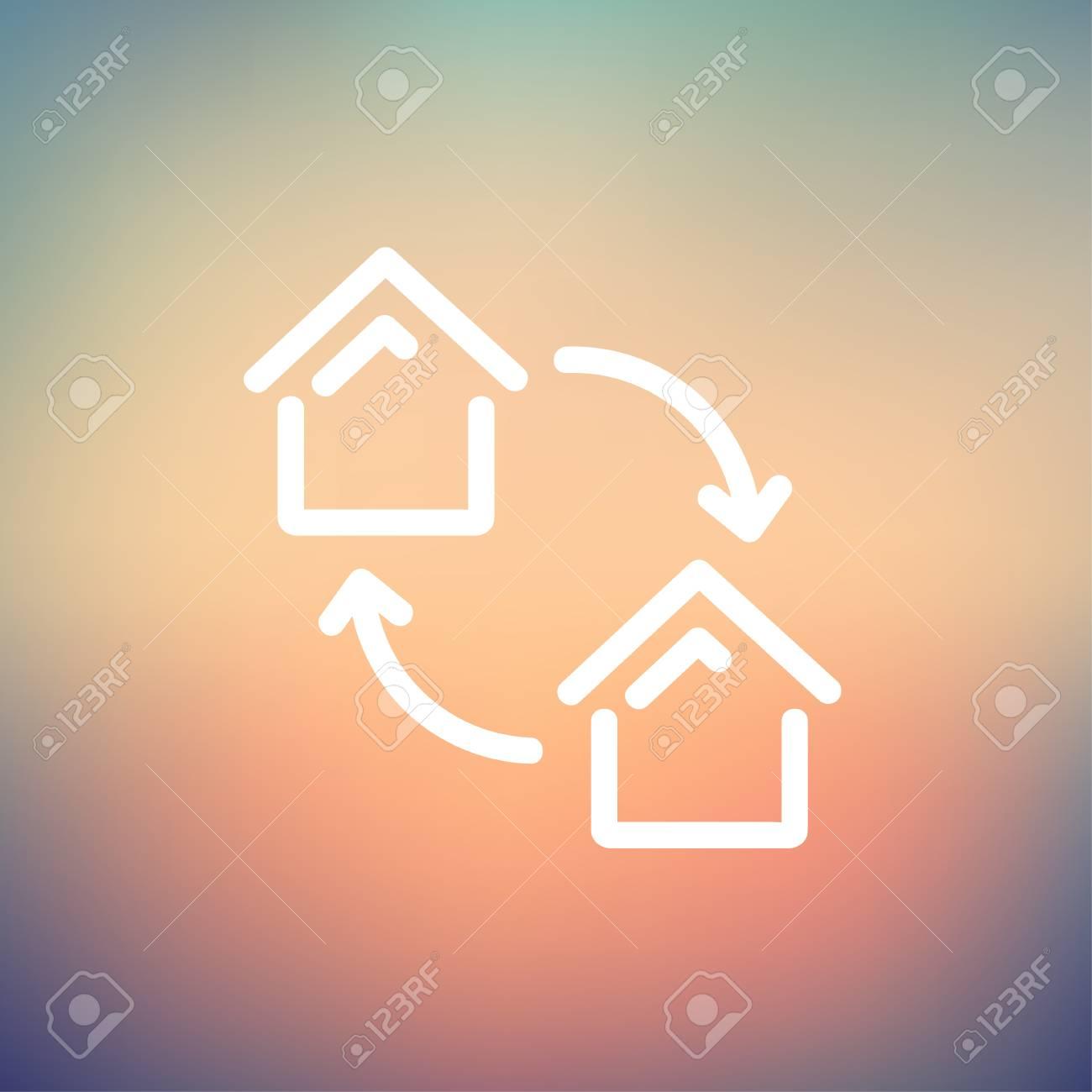 Zwei Kleine Hauser Symbol Dunne Linie Fur Web Und Mobile Modern