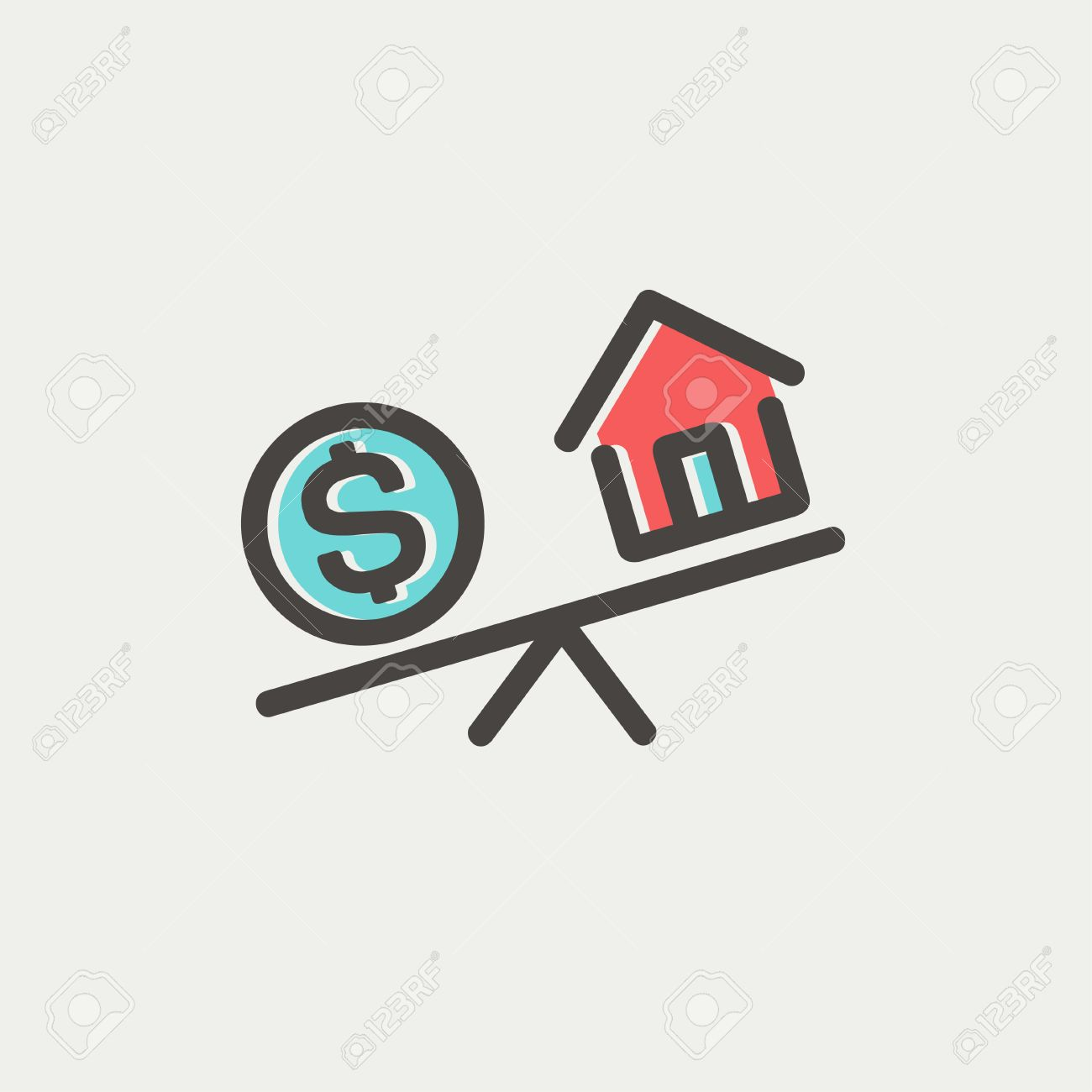 Compare Or Exchange Home To Money Icon Thin Line For Web And ...