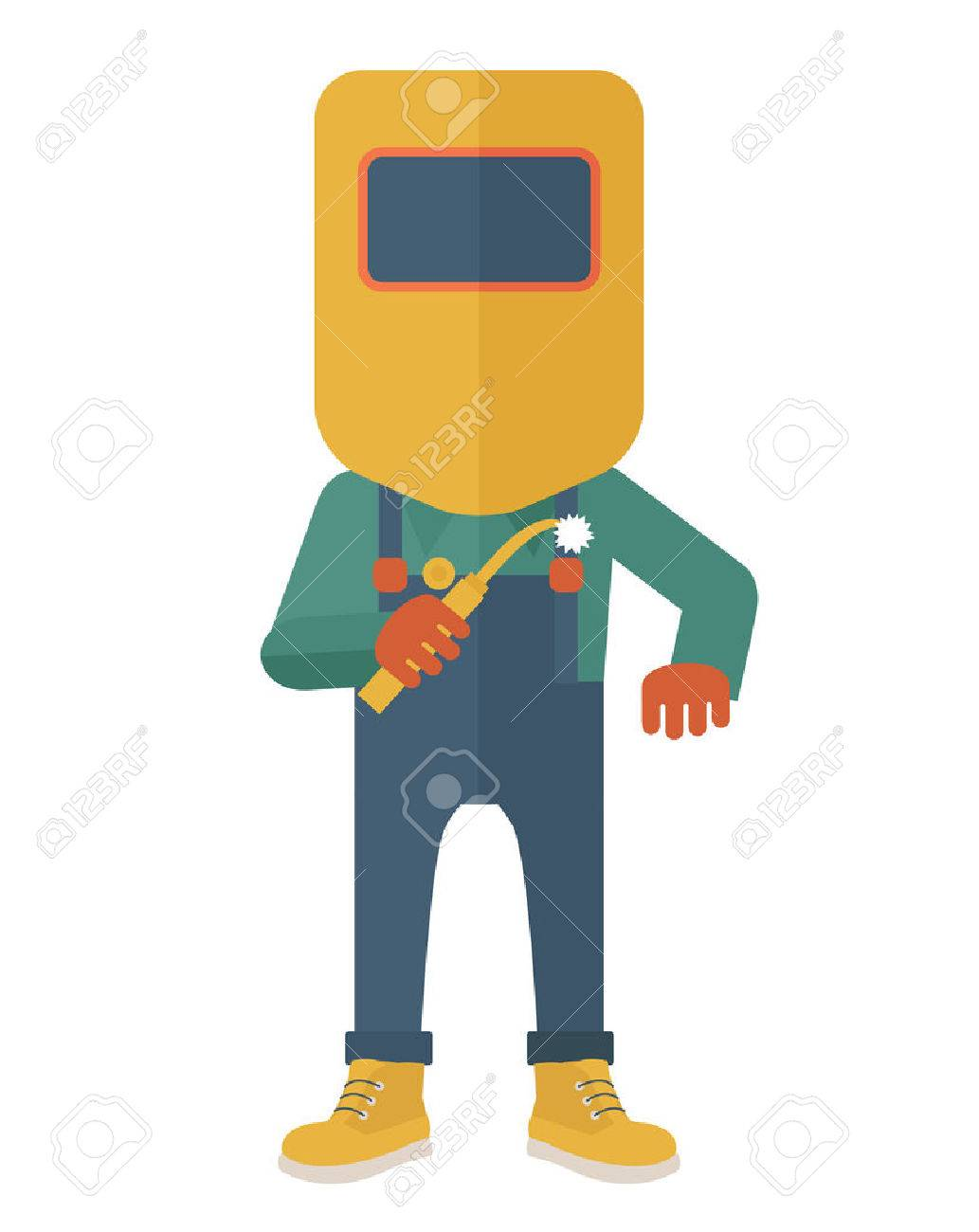 A worker wearing welding mask, protection for eyes use for welding a metal or steel. A Contemporary style. Vector flat design illustration isolated white background. Vertical layout. Banque d'images - 40162424