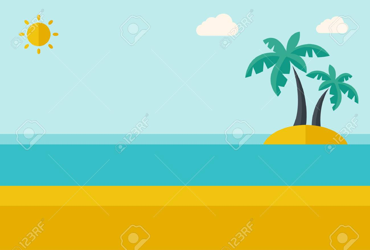 A tropical sea island with palm trees and sun. A Contemporary style with pastel palette, soft blue tinted background with desaturated clouds. Vector flat design illustration. Horizontal layout. Banque d'images - 40279698