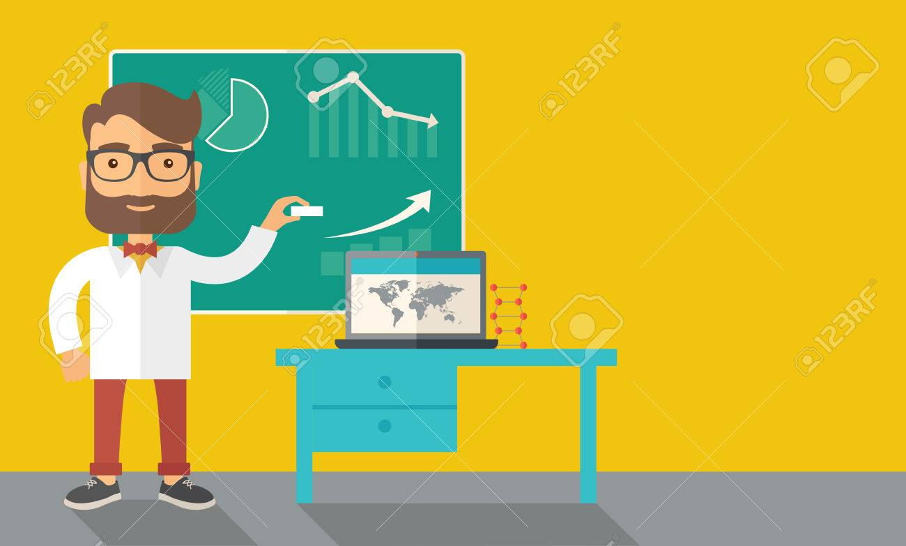 A young professor holding a chalk sketching a graphs and teaching on how to develop a business worlwide. A Contemporary style with pastel palette, dark yellow tinted background. Vector flat design illustration. Horizontal layout with text space in right s Banque d'images - 40279772