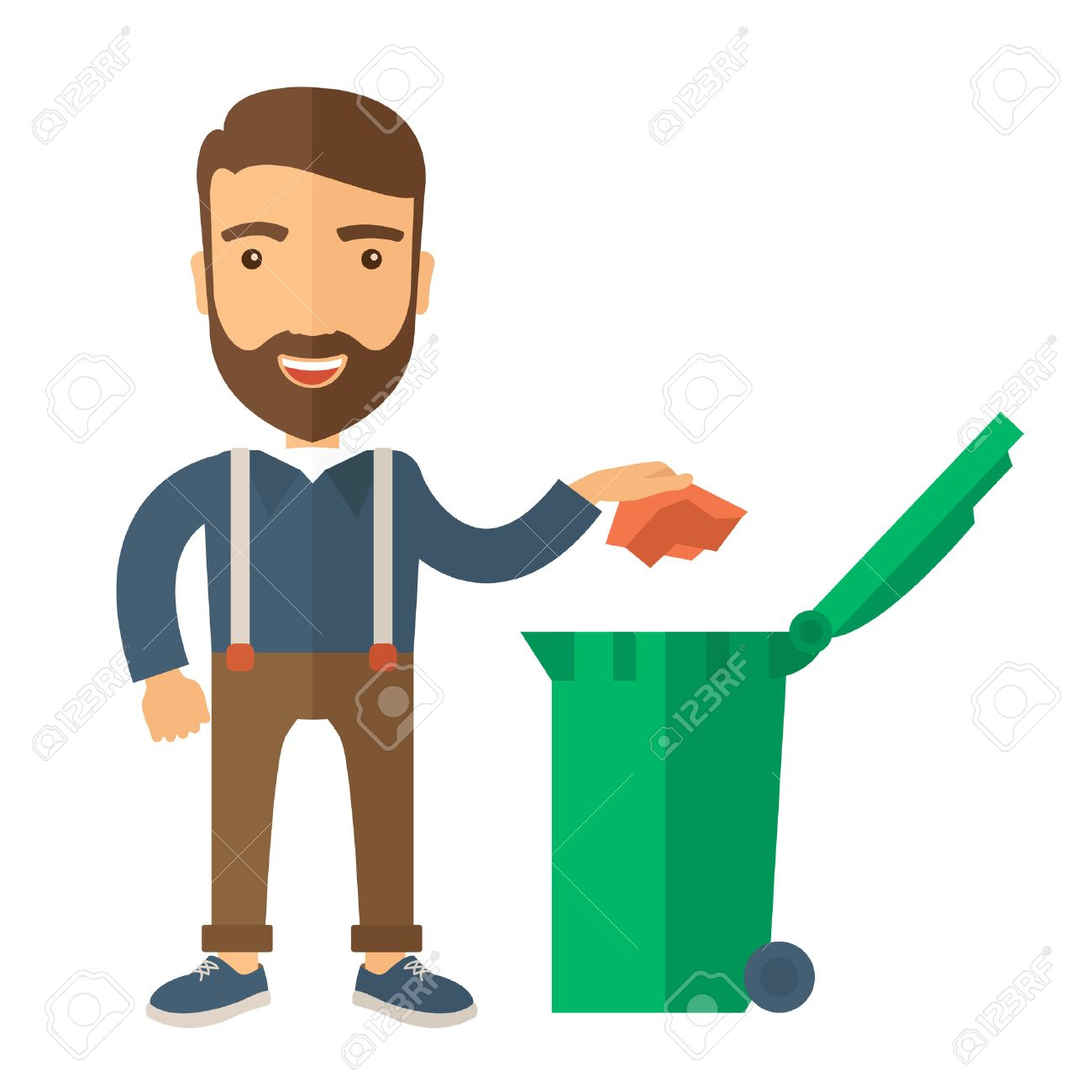 A caucasian man throwing a crumpled paper in a green garbage bin. A Contemporary style. Vector flat design illustration isolated white background. Square layout - 40279936