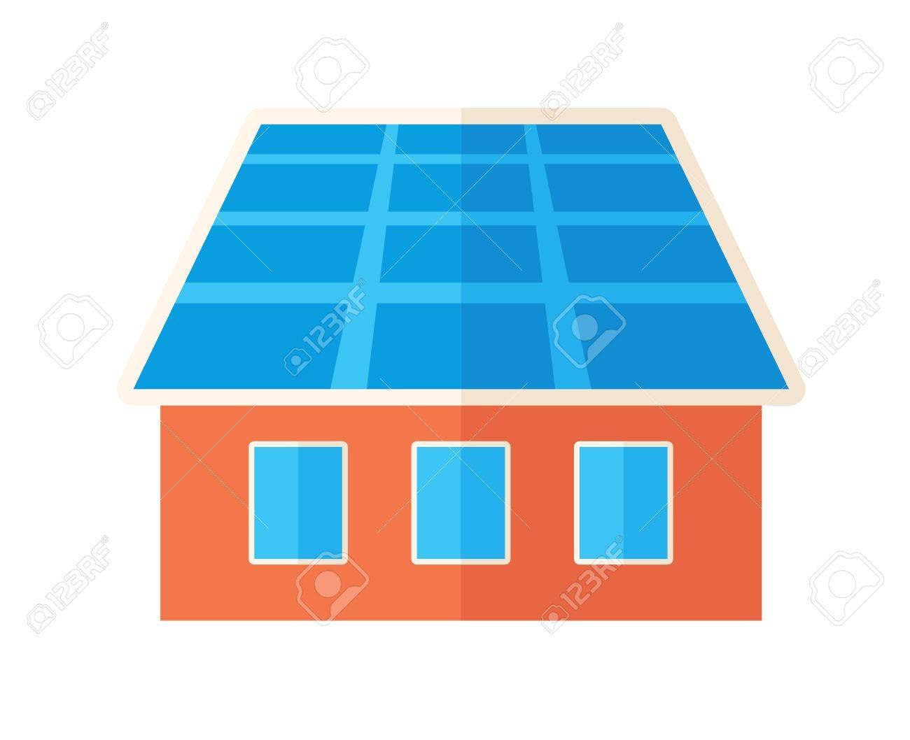 Ein Haus Mit Sonnenkollektoren Auf Dem Dach. . Einem ...