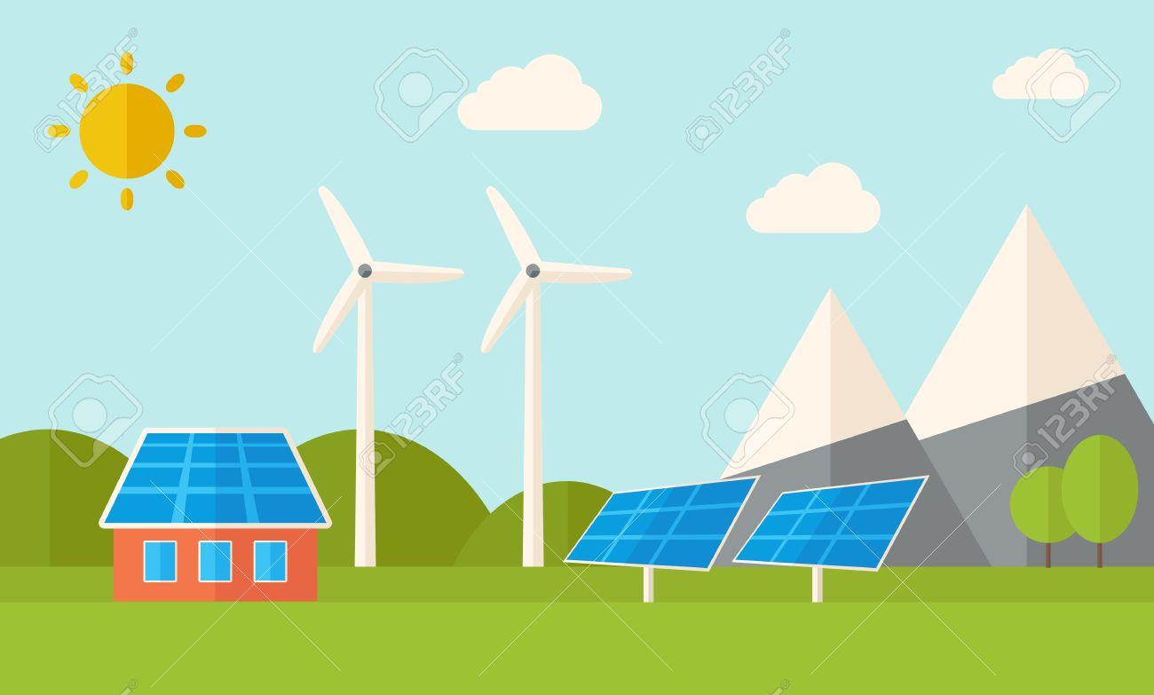 Ein Haus Mit Alternativen Energieverbrauch, Solarpanel Und ...