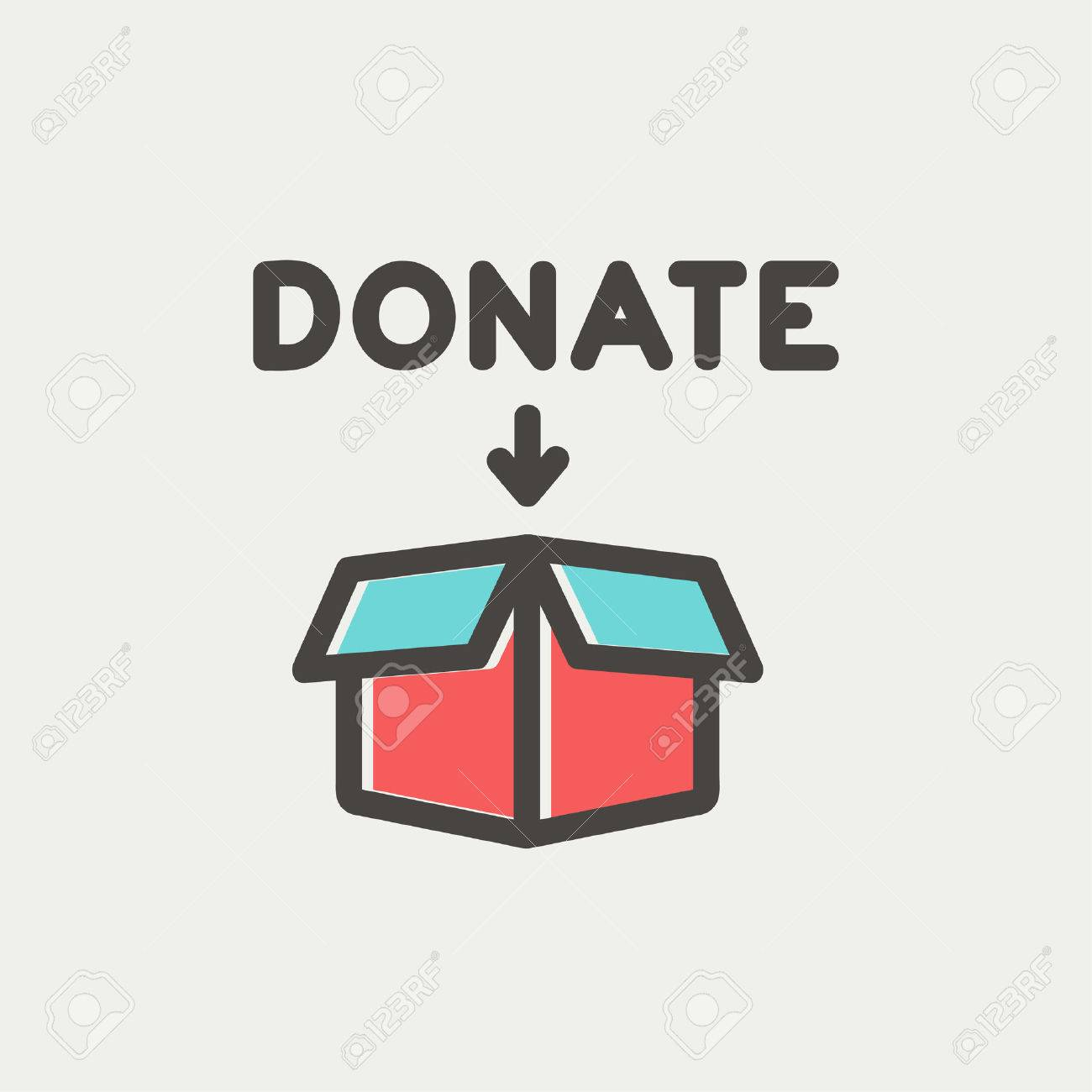 Donation box icon thin line for web and mobile, modern minimalistic flat design. Vector icon with dark grey outline and offset colour on light grey background. Banque d'images - 40447227