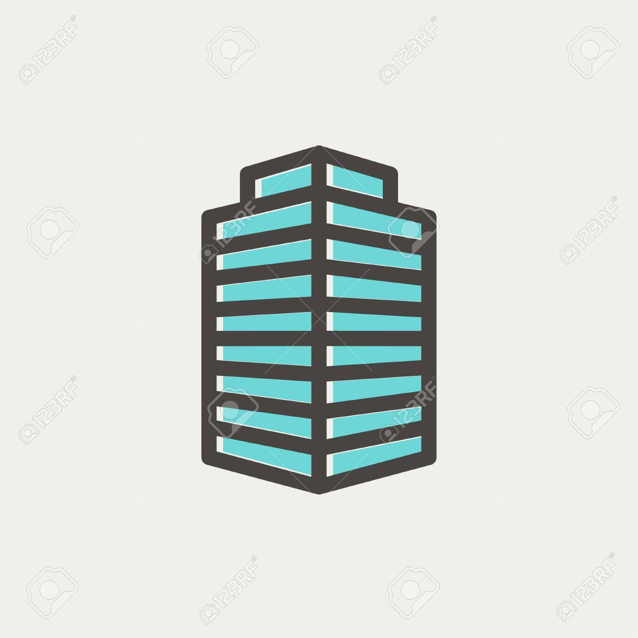 Small Office Building Icon Thin Line For Web And Mobile Modern