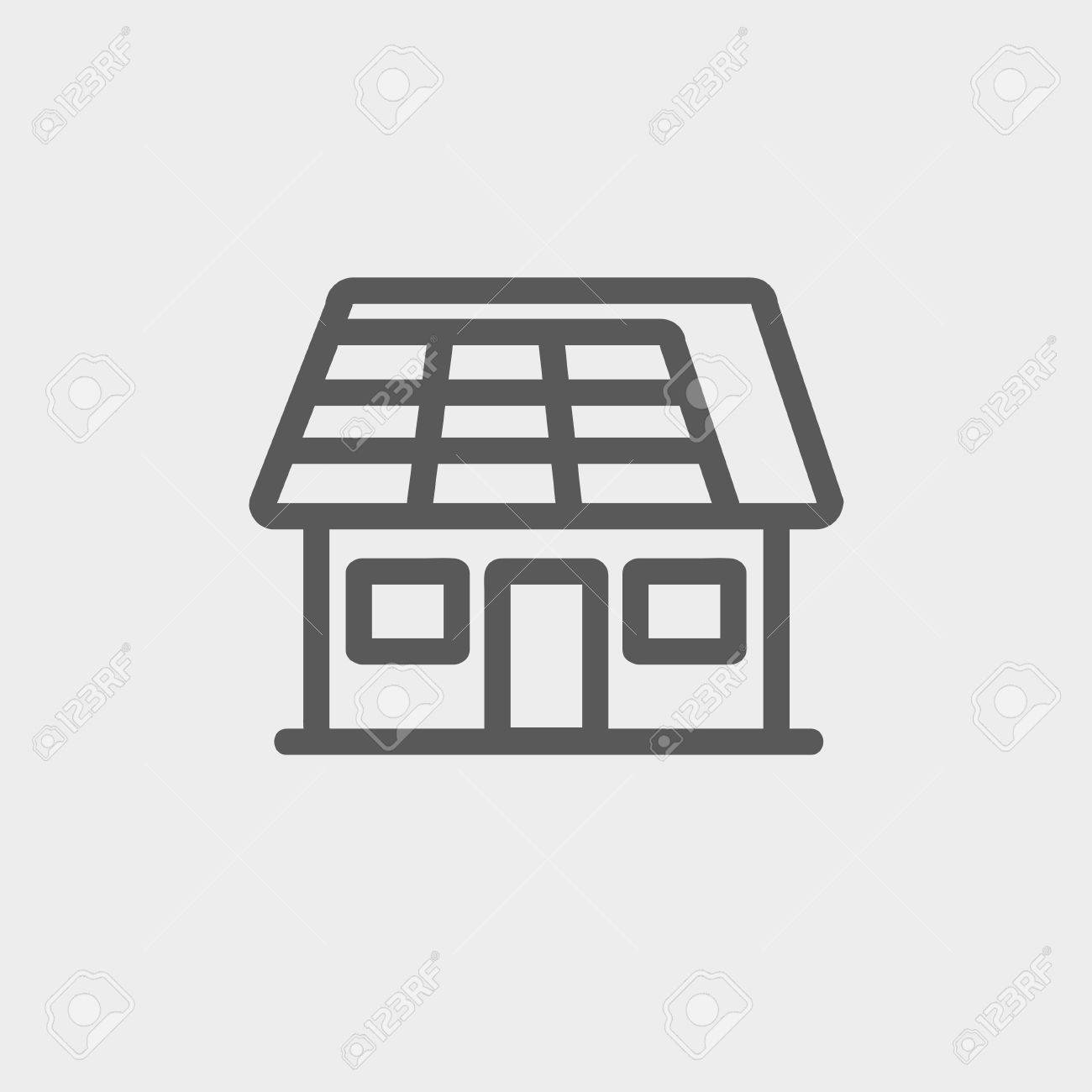 House With Solar Panel Icon Thin Line For Web And Mobile, Modern  Minimalistic Flat Design