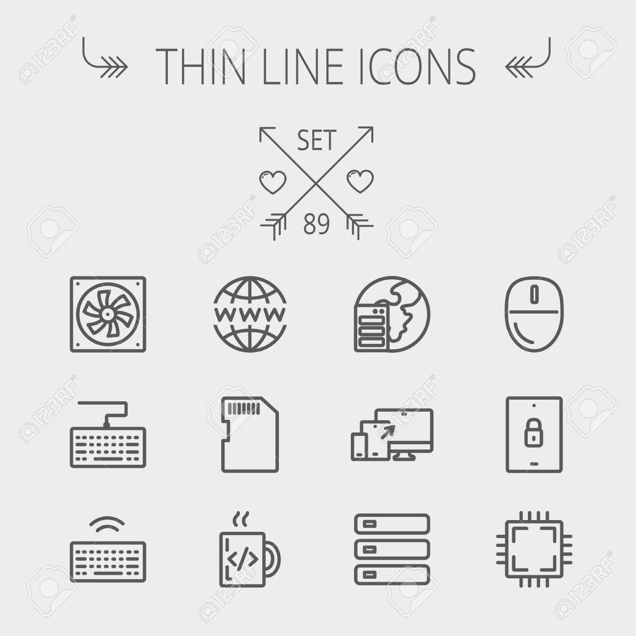 Technology Thin Line Icon Set For Web And Mobile Includes Smart Phone Circuit Board With Details Like Sim Card Other Image Simcard Computer
