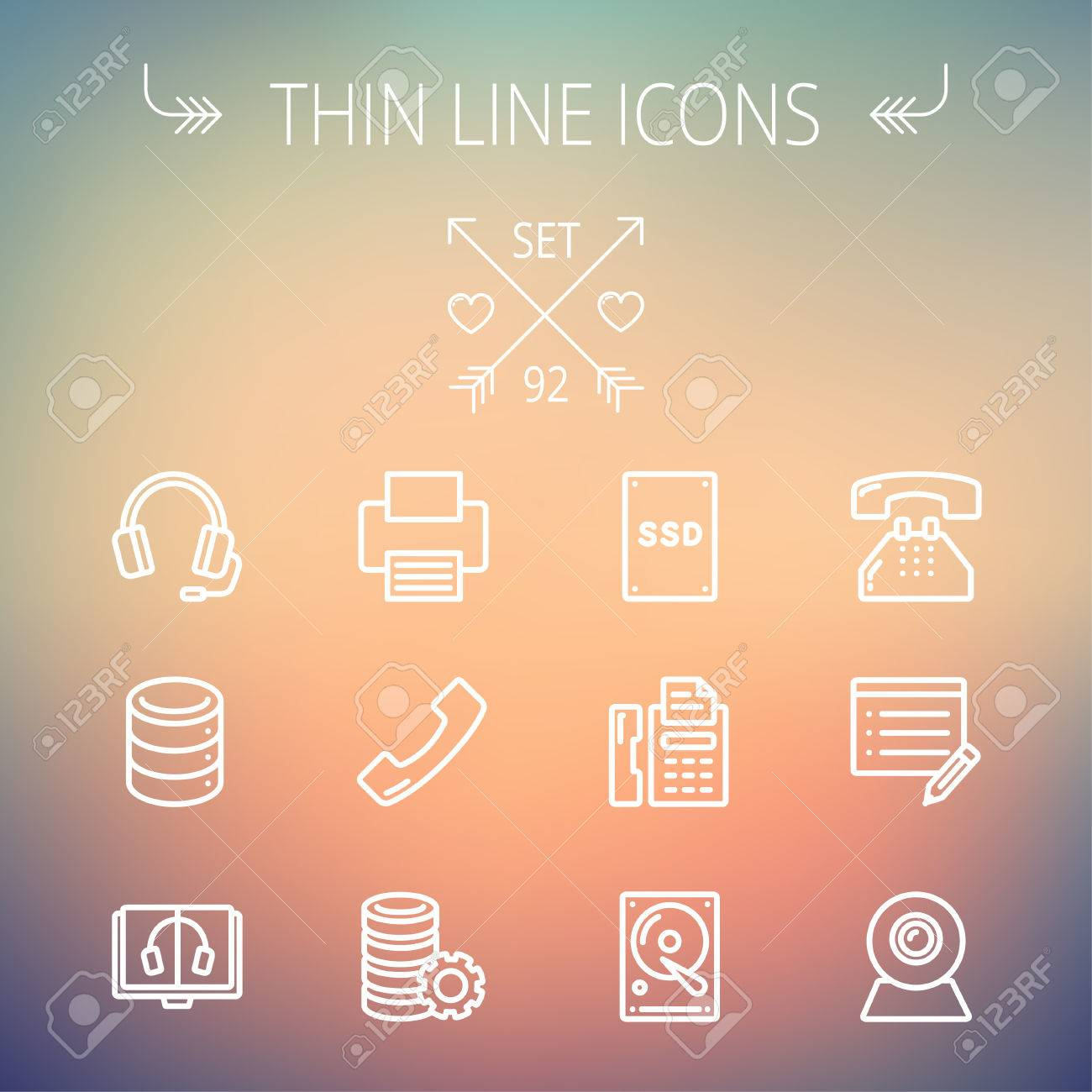 technology thin line icon set for web and mobile set includes