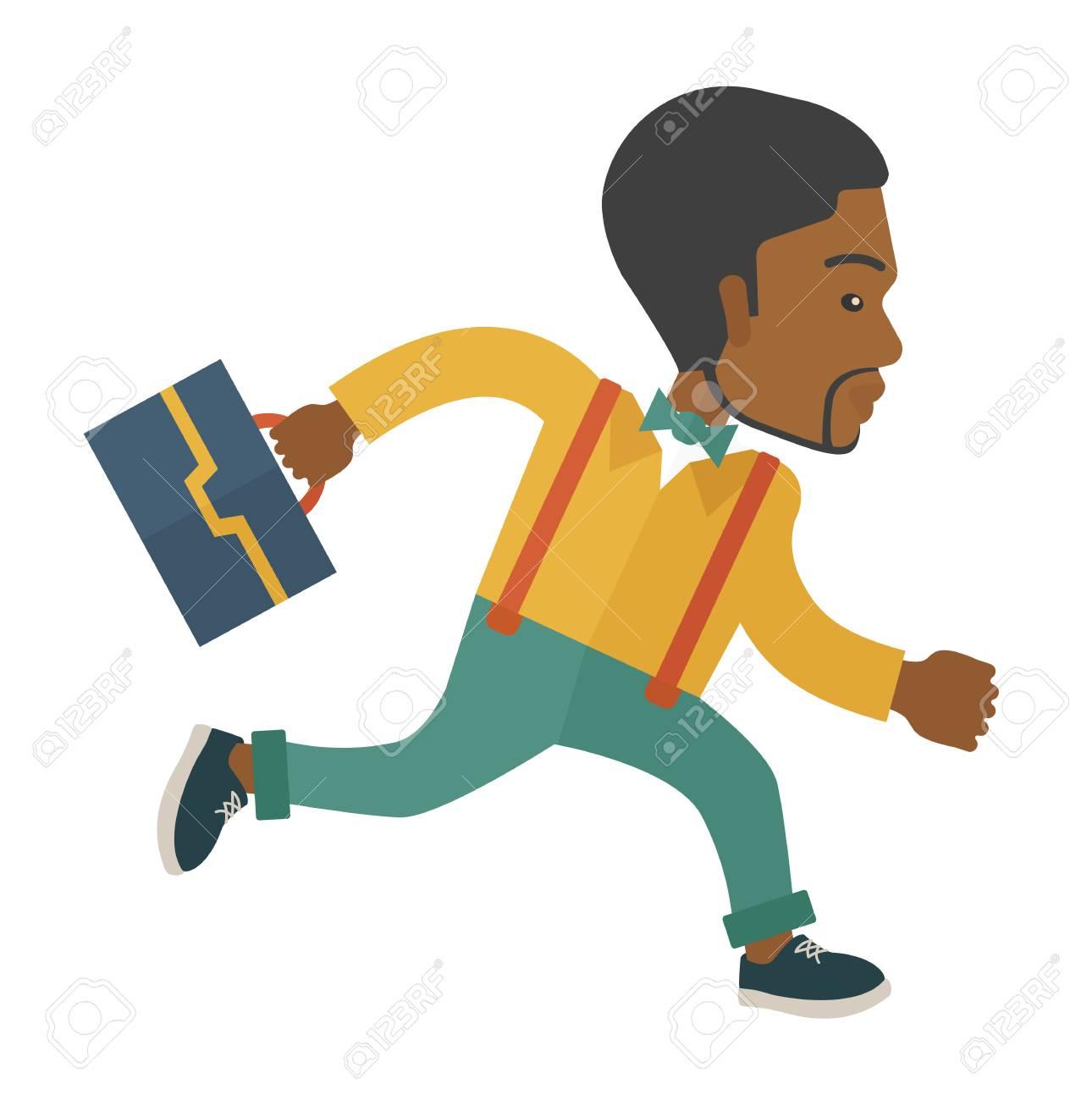 Ein Arbeitnehmer Mit Aktenkoffer Ist Zu Spät Zur Arbeit. Einem ...