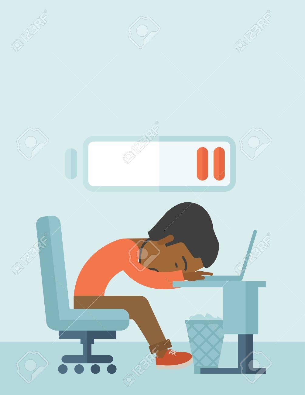 Eine Müde Schwarze Mitarbeiter Einschlafen An Seinem Schreibtisch ...