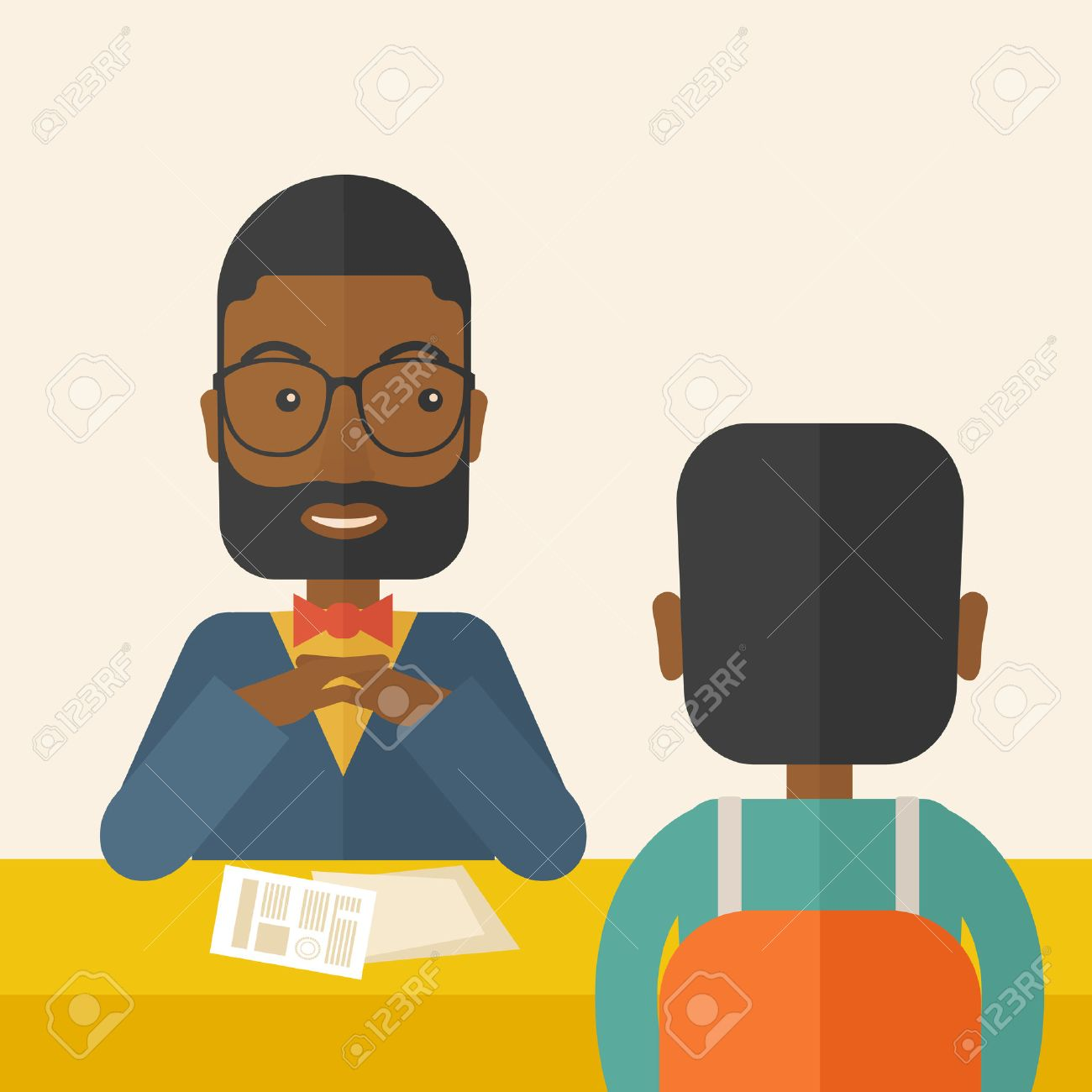 A smiling black human resource manager interviewed the applicant with his curriculum vitae for the job vacancy.  Employment, recruitment concept. A Contemporary style with pastel palette, soft beige tinted background. Vector flat design illustration. Squa Banque d'images - 41175709