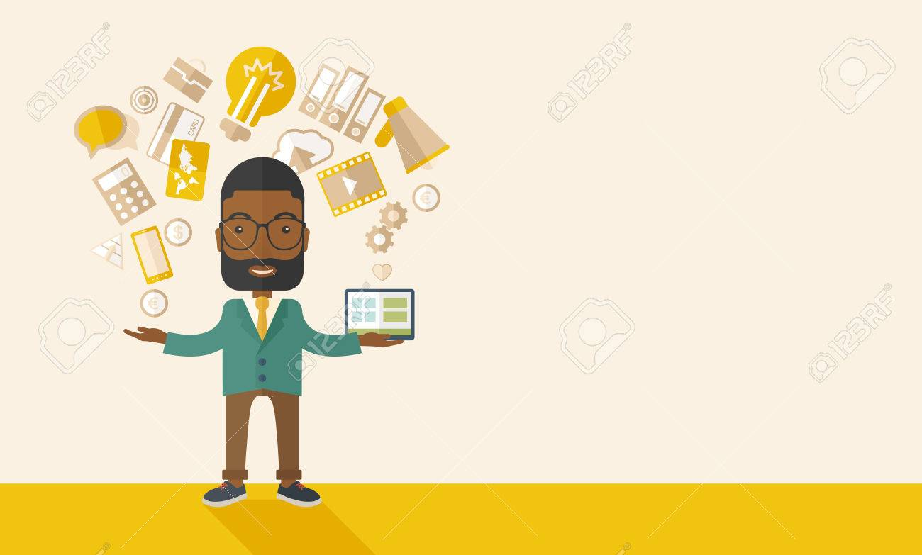 A happy black man standing enjoying doing multitasking, working on different project from his home to office only by himself. Self-reliance concept. A Contemporary style with pastel palette, soft beige tinted background. Vector flat design illustration. H Banque d'images - 41175719