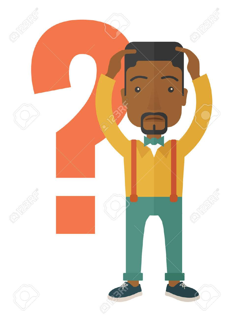 A black businessman with a problem standing scratching his head with question marks beside him. A contemporary style. Vector flat design illustration with isolated white background. Vertical layout. Banque d'images - 41327200