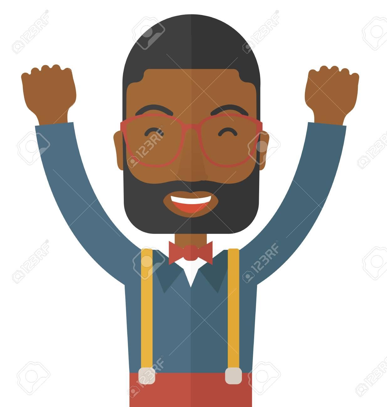 A Black Junger Mann Ist Glücklich, Indem Er Seine Beiden Hände ...