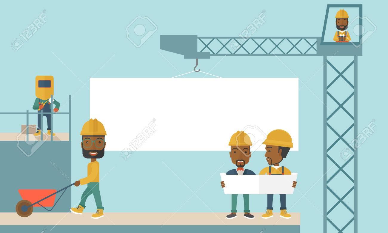 Ein Erfahrenes Team Schwarze Arbeiter Mit Weißen Tafel Tragen Helme ...