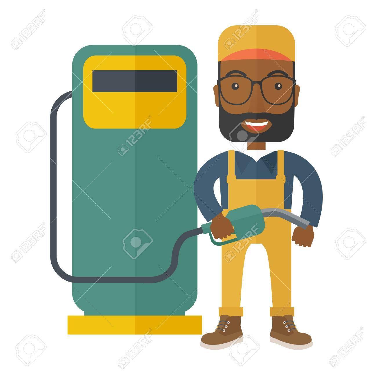 Eine Glückliche Schwarze Junge Mit Benzin Zapfsäule. Einem ...
