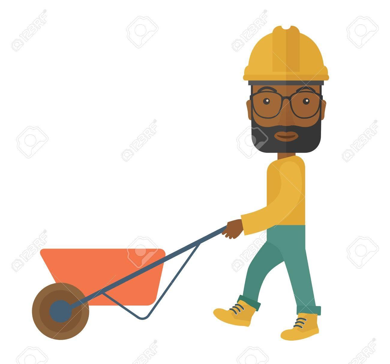 Ein Schwarzer Mann Gärtner Tragen Helm Eine Schubkarre. Einem ...