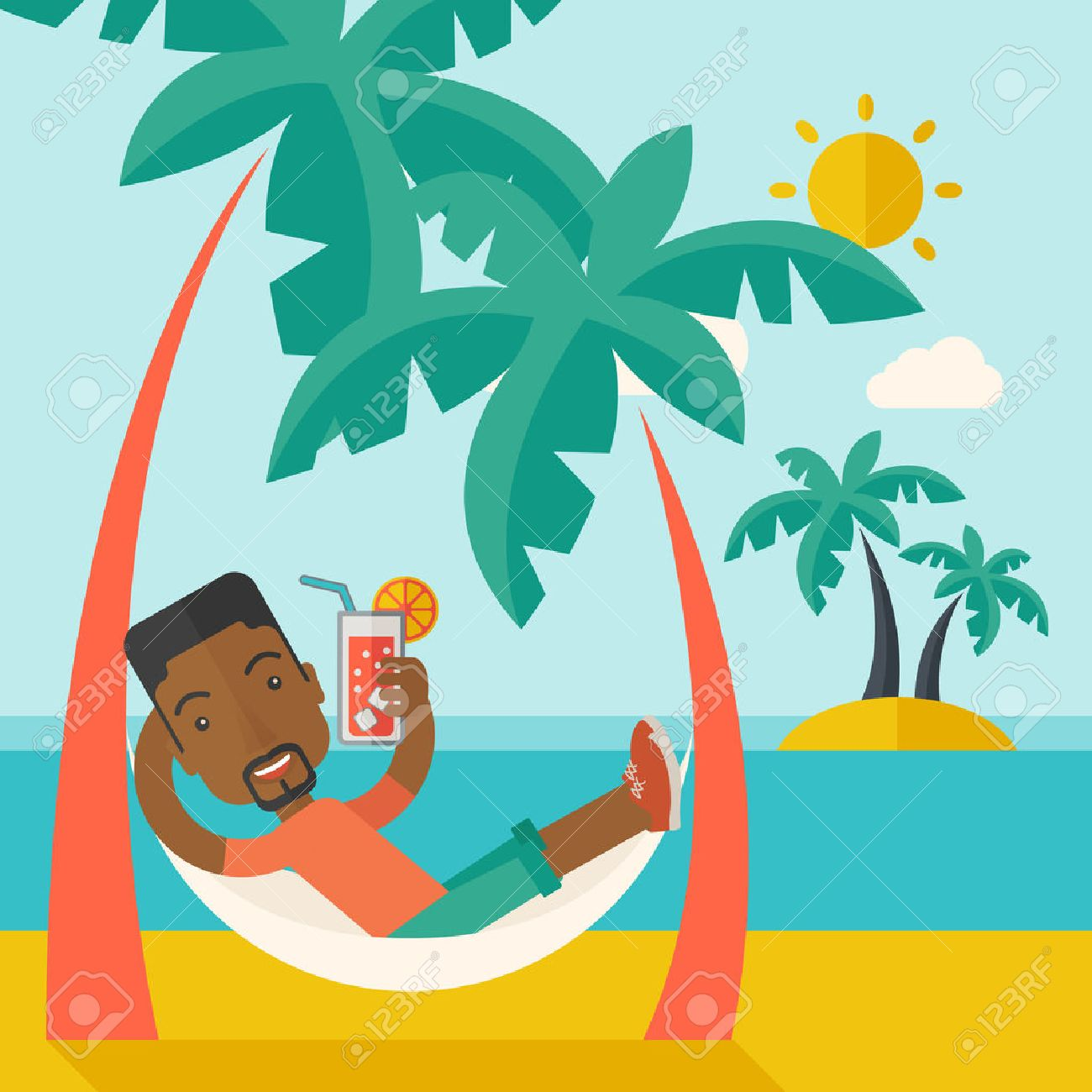 A young black guy on the beach relaxing and drinking cocktail under the heat of the sun with two coconut tree. A contemporary style with pastel palette blue tinted background with desaturated clouds. Vector flat design illustration. Square layout. Banque d'images - 41659321