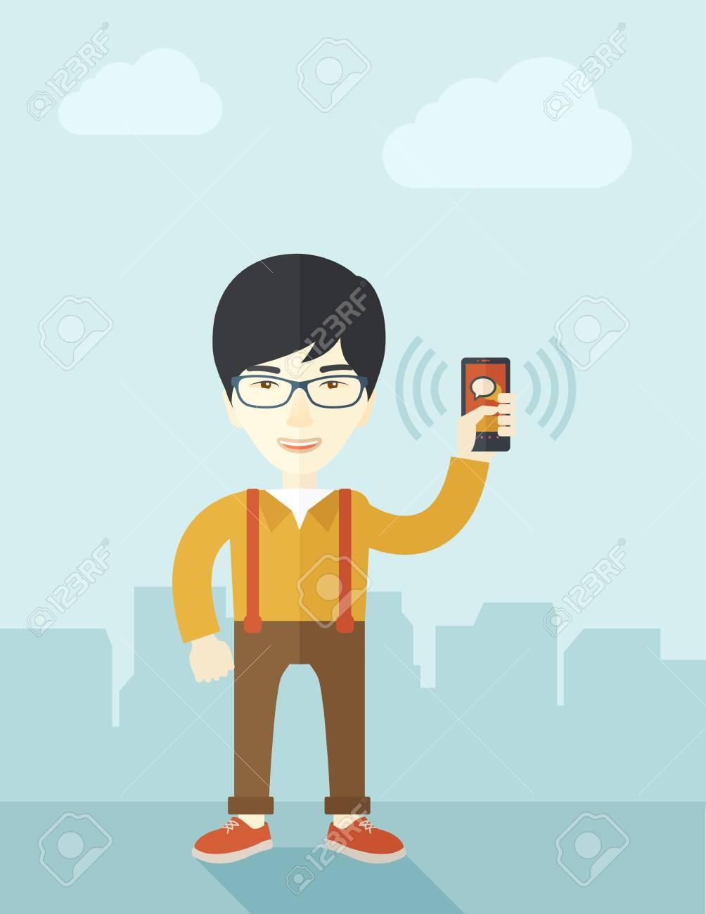 Eine Japanische Büroangestellte Sein Smartphone Vibrieren Zu Halten ...