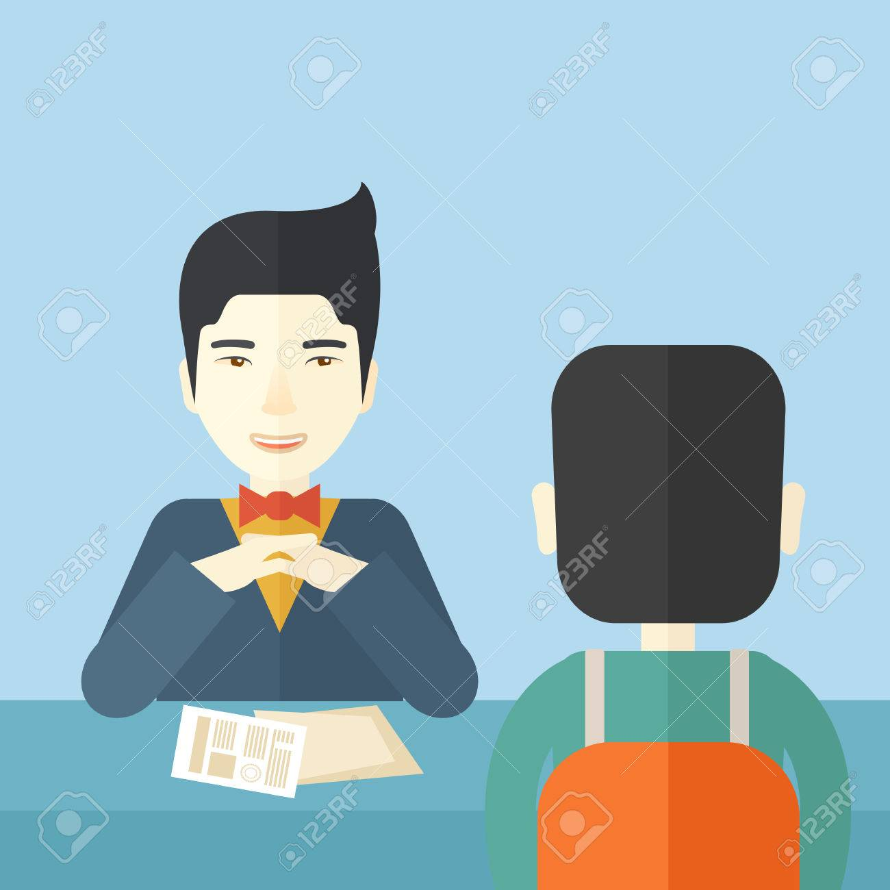 interview success stock photos pictures royalty interview interview success a smiling chinese human resource manager interviewed the applicant his curriculum vitae