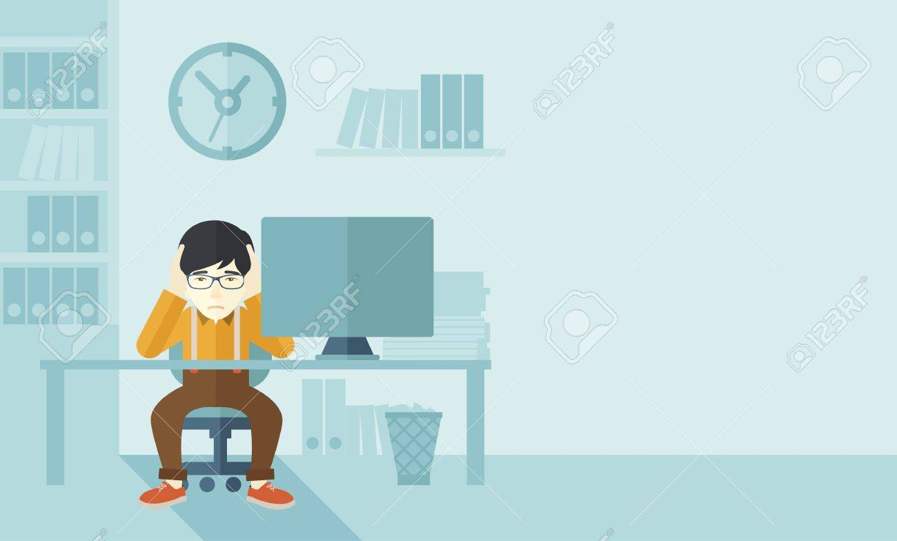 An overworked japanese businessman sitting infront of computer holding his head by two hands, under stress causing a headache. Unhappy concept. A contemporary style with pastel palette soft blue tinted background. Vector flat design illustration. Horizont Banque d'images - 42642271