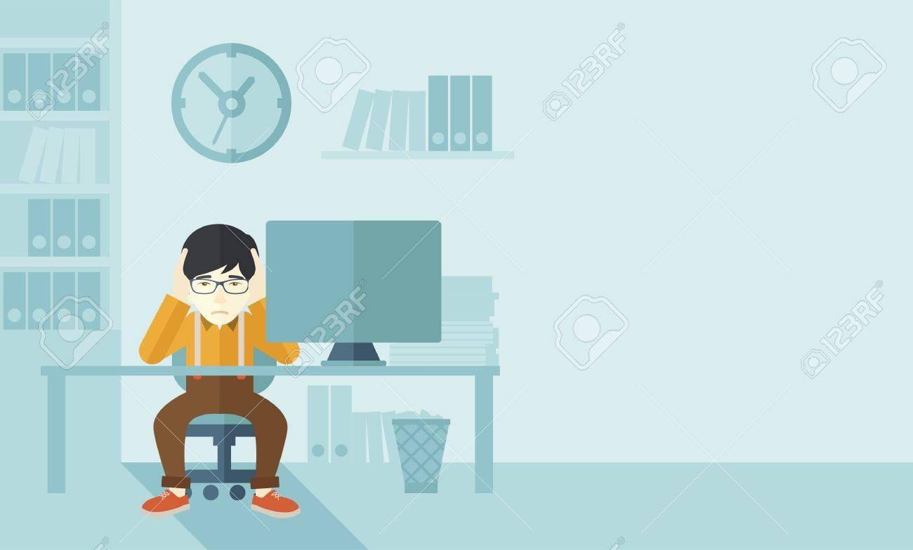 Un homme d'affaires japonais surmené assis en face de l'ordinateur se tenant la tête à deux mains, sous le stress causant un mal de tête. Notion malheureux. Un style contemporain avec le pastel palette douce fond teinté bleu. Vector design plat illustration. Horizont Banque d'images - 42642271