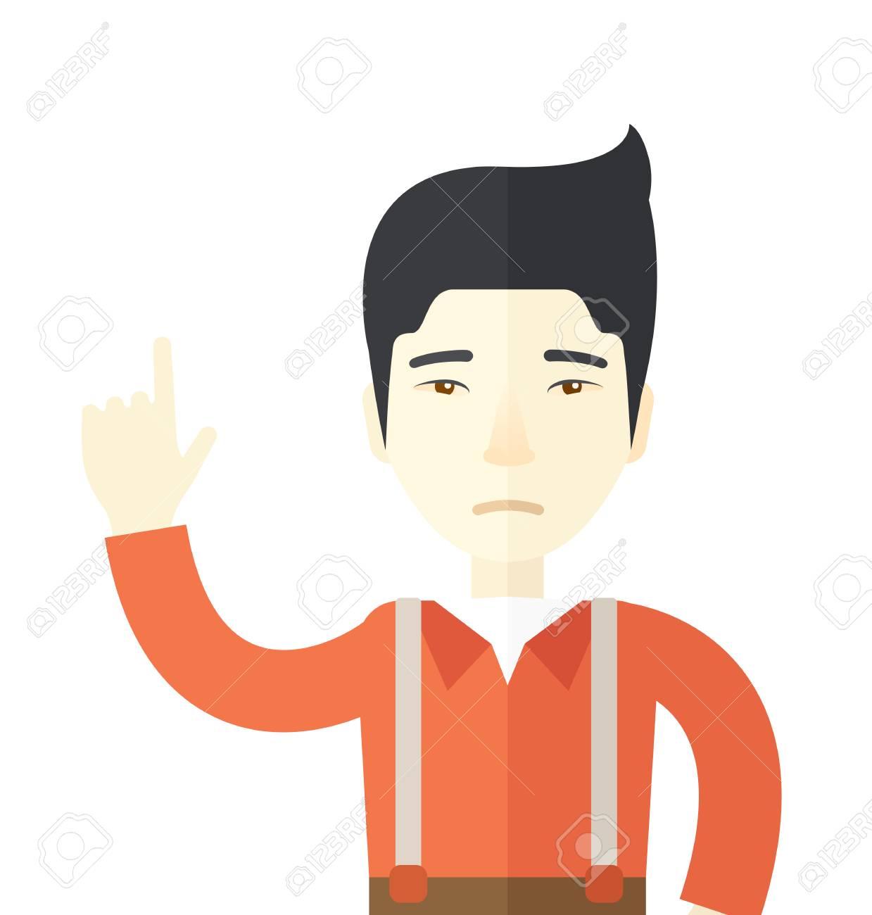 Eine Traurige Asiatischer Kerl Hob Einen Arm. Einem Zeitgenössischen ...