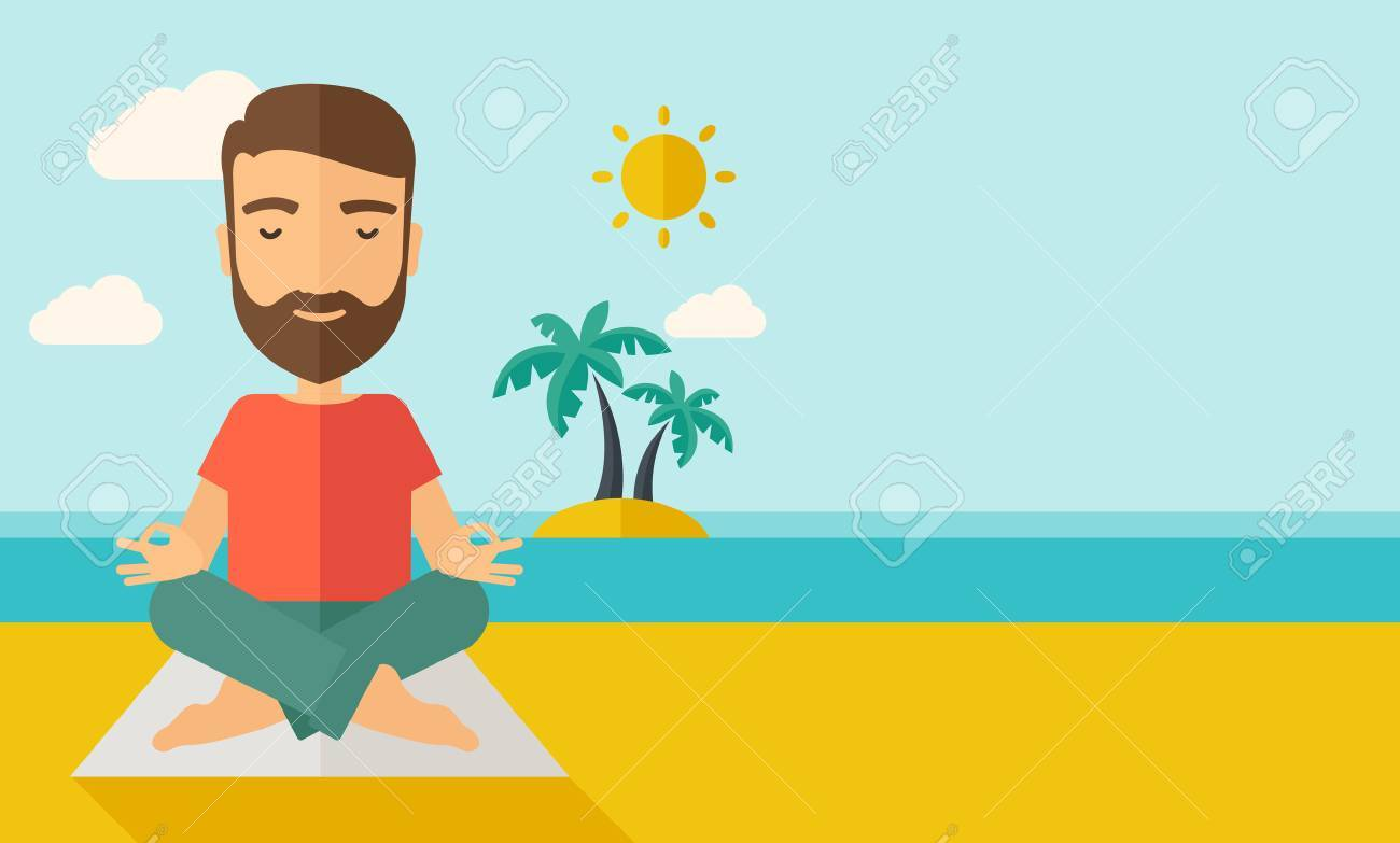 A hipster man doing yoga in the beach with his yoga pad under the sun.  Contemporary style with pastel palette, soft blue tinted background with desaturated cloud. Vector flat design illustrations. Horizontal layout with text space in right side. Banque d'images - 42646349
