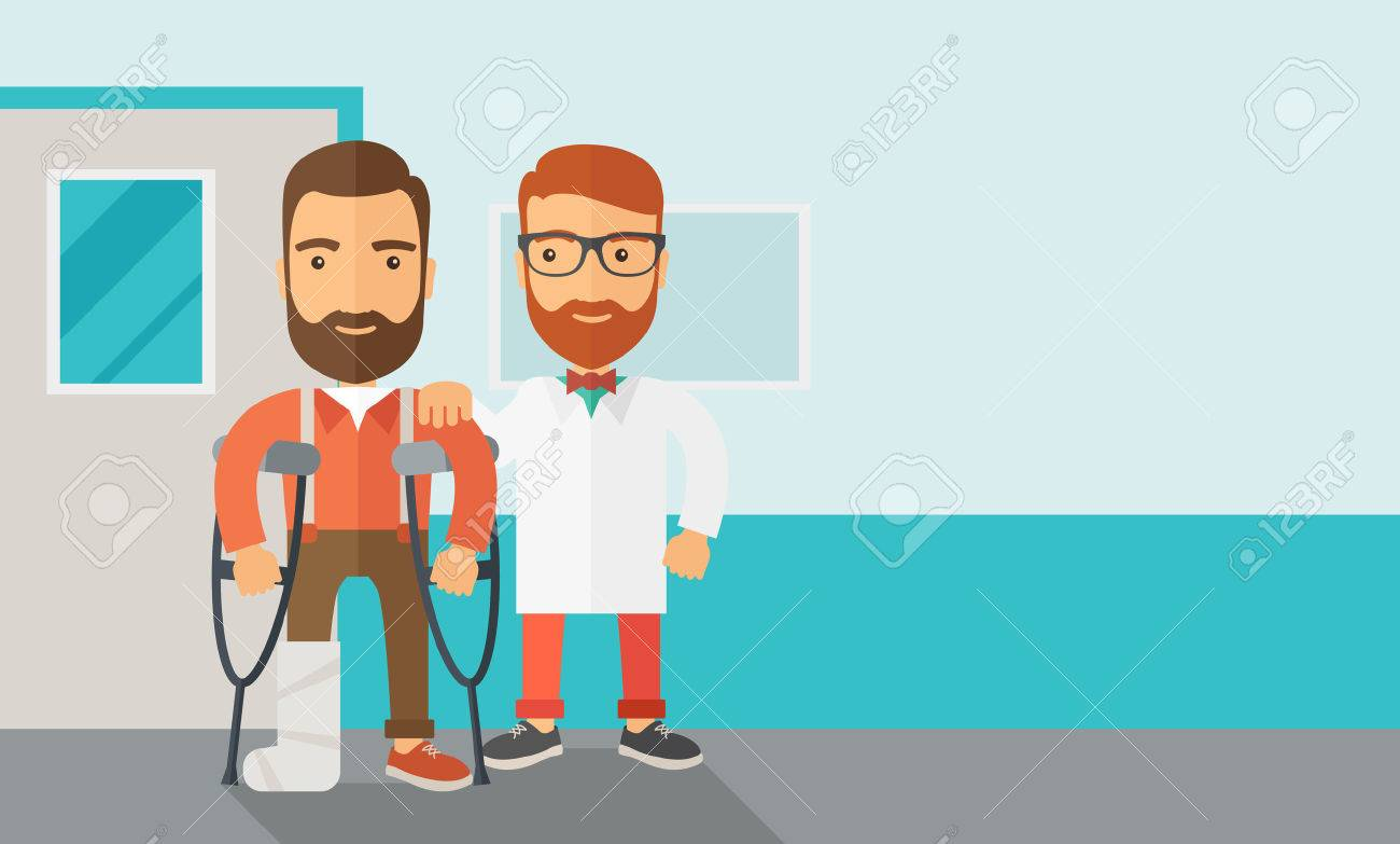 An injured man in crutches assisted by a doctor. Safety concept. Contemporary style with pastel palette, soft blue tinted background. Vector flat design illustrations. Horizontal layout with text space in right side. Banque d'images - 42646395