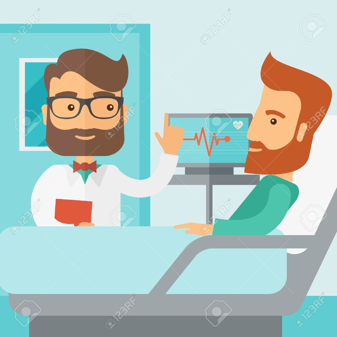 A medical caucasian patient being treated by an expert doctor in a hospital room. Contemporary style with pastel palette, soft blue tinted background. Vector flat design illustrations. Square layout. Banque d'images - 42646403
