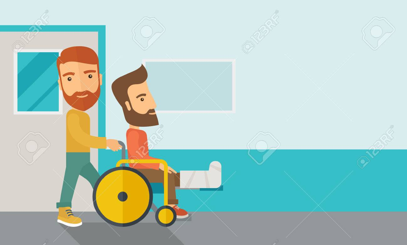 A caucasian man pushing the wheelchair with broken leg patient. Contemporary style with pastel palette, soft blue tinted background. Vector flat design illustrations. Horizontal layout with text space in right side. Banque d'images - 42646867