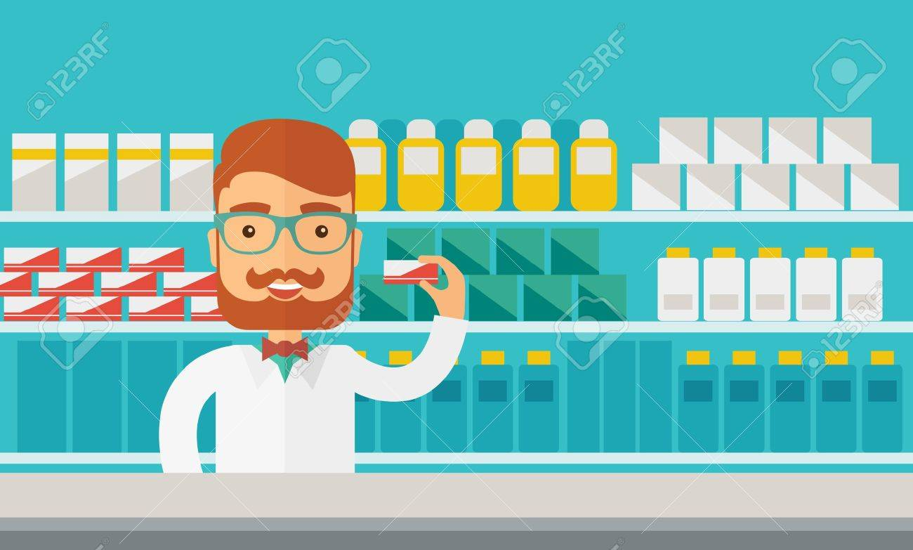 Un jeune homme pharmacie chimiste debout dans la pharmacie. Style contemporain avec palette pastel, fond teinté bleu. Vector design plat illustrations. Disposition horizontale. Banque d'images - 42646872