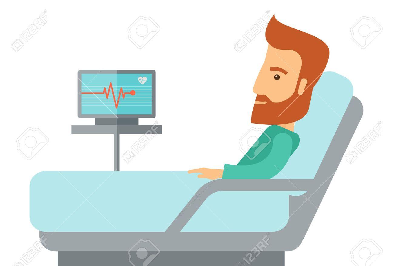 Patient allongé dans son lit à l'hôpital. Un style contemporain. Vector design plat illustration isolé fond blanc. Disposition horizontale Banque d'images - 42646877