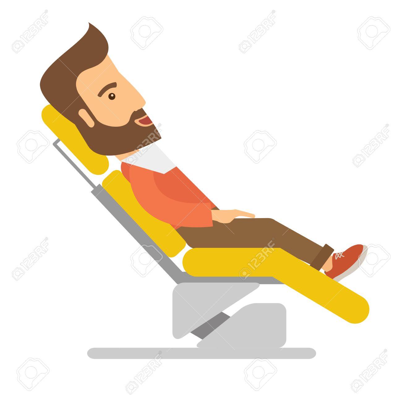 Ein Kaukasischer Mann In Zahnarztstuhl Liegend. Einem ...
