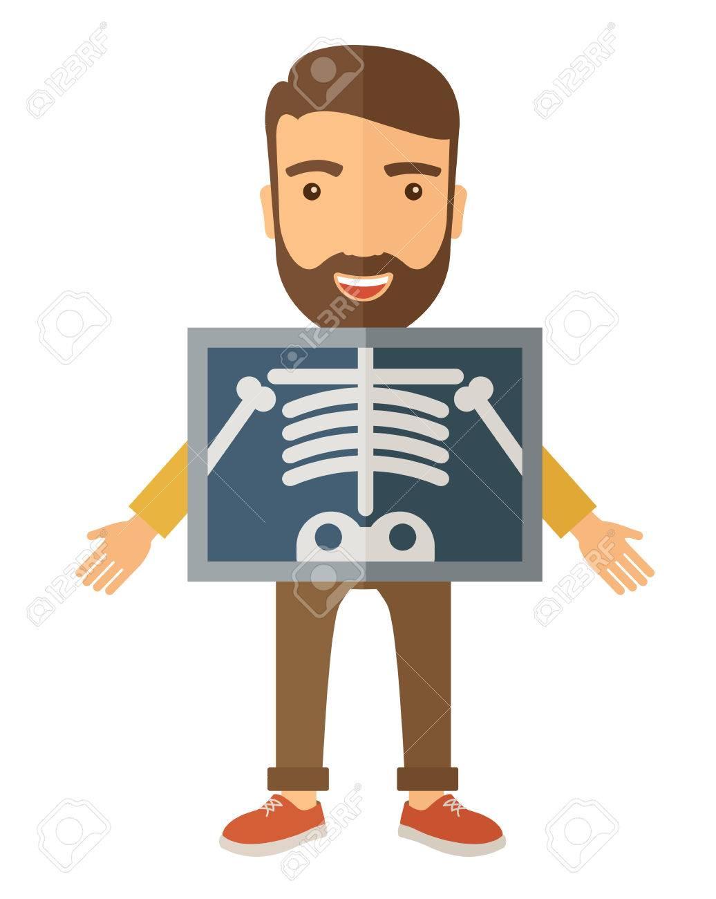Die Ansicht Der Mann Hält Ein Röntgenbild. Einem Zeitgenössischen ...