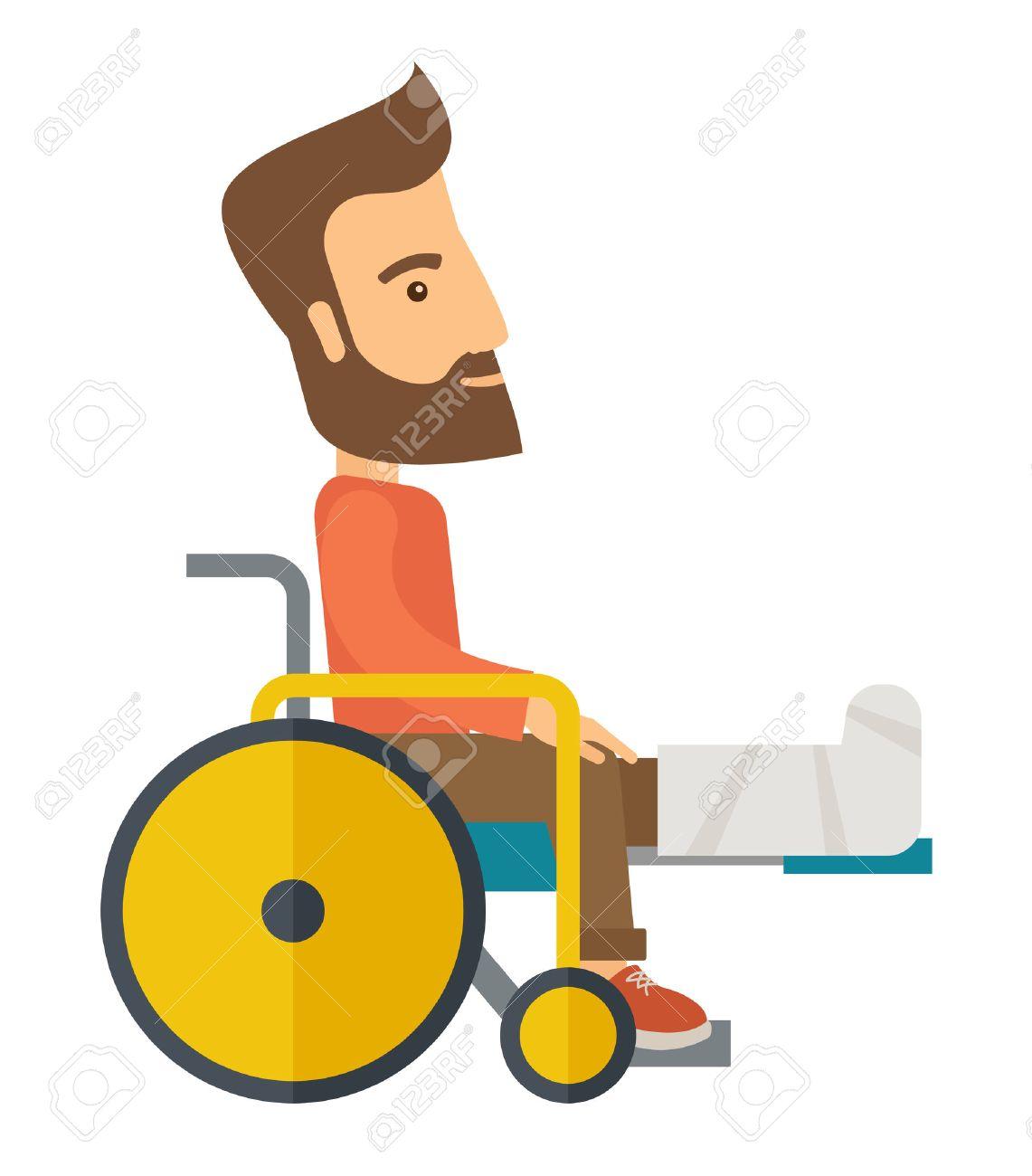 Ein Mann In Einem Rollstuhl Mit Gebrochenen Knochen. Einem ...