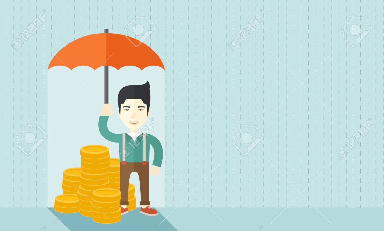 A chinese businessman standing holding umbrella protecting his money to investments, money management. Saving money for any financial crisis will come. Saving concept. A contemporary style with pastel palette soft blue tinted background. Vector flat desig Banque d'images - 42795626