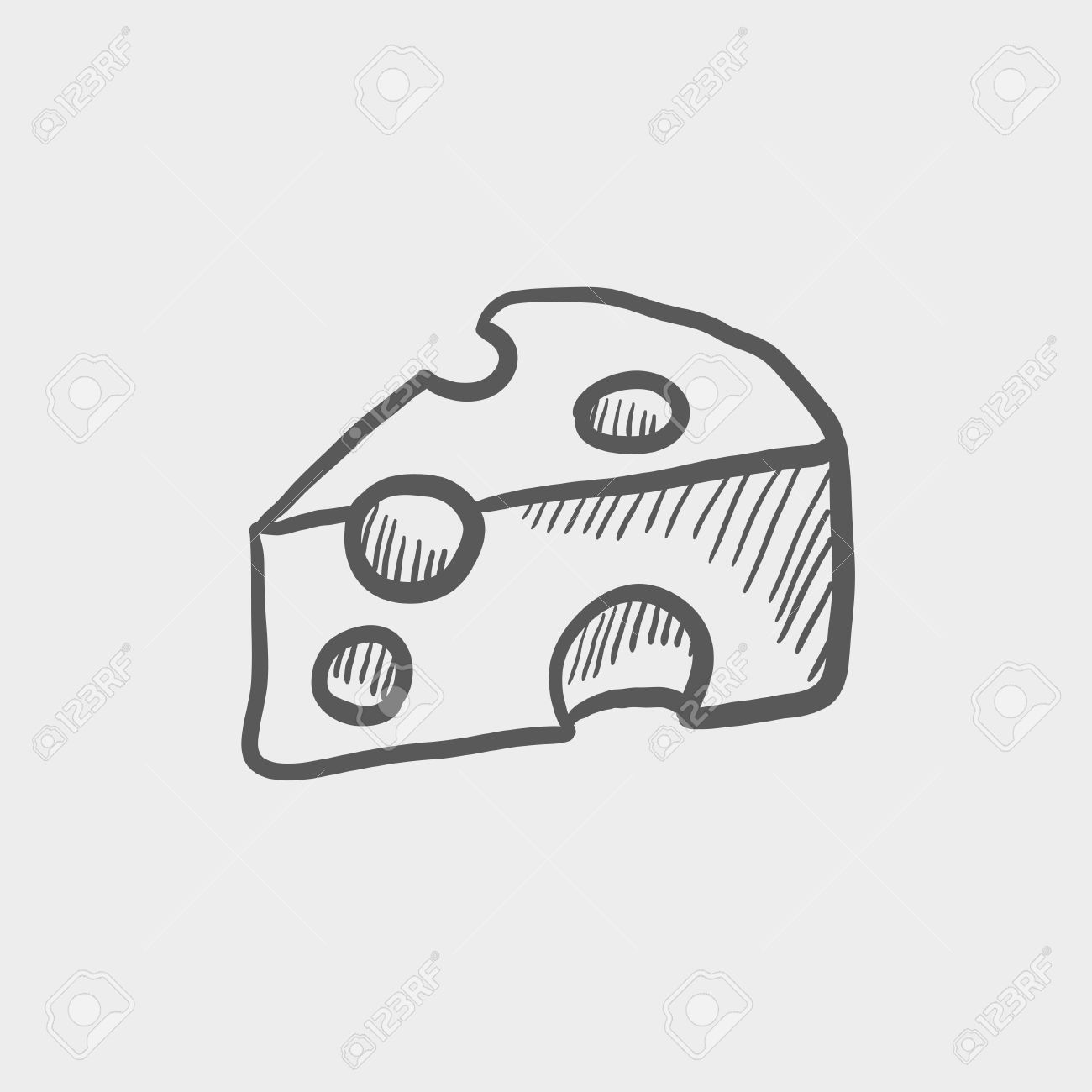 Sliced of cheese sketch icon for web and mobile hand drawn vector dark grey icon