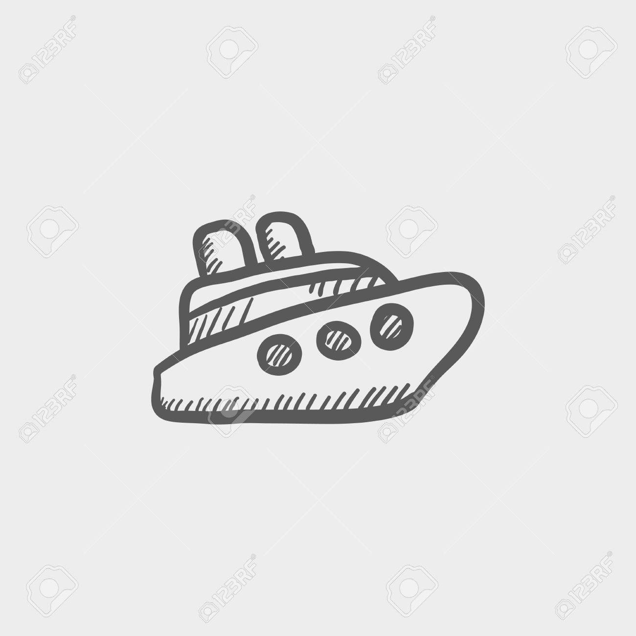 cruise ship sketch icon for web and mobile hand drawn vector