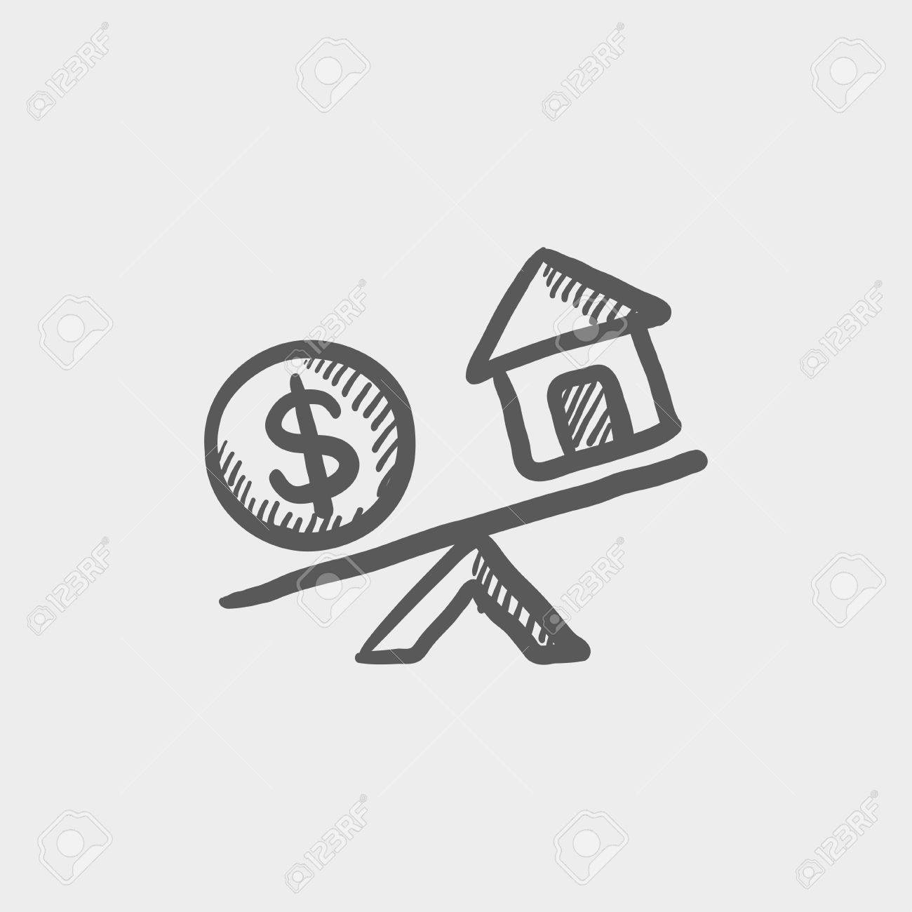 Compare or exchange home to money sketch icon for web and mobile