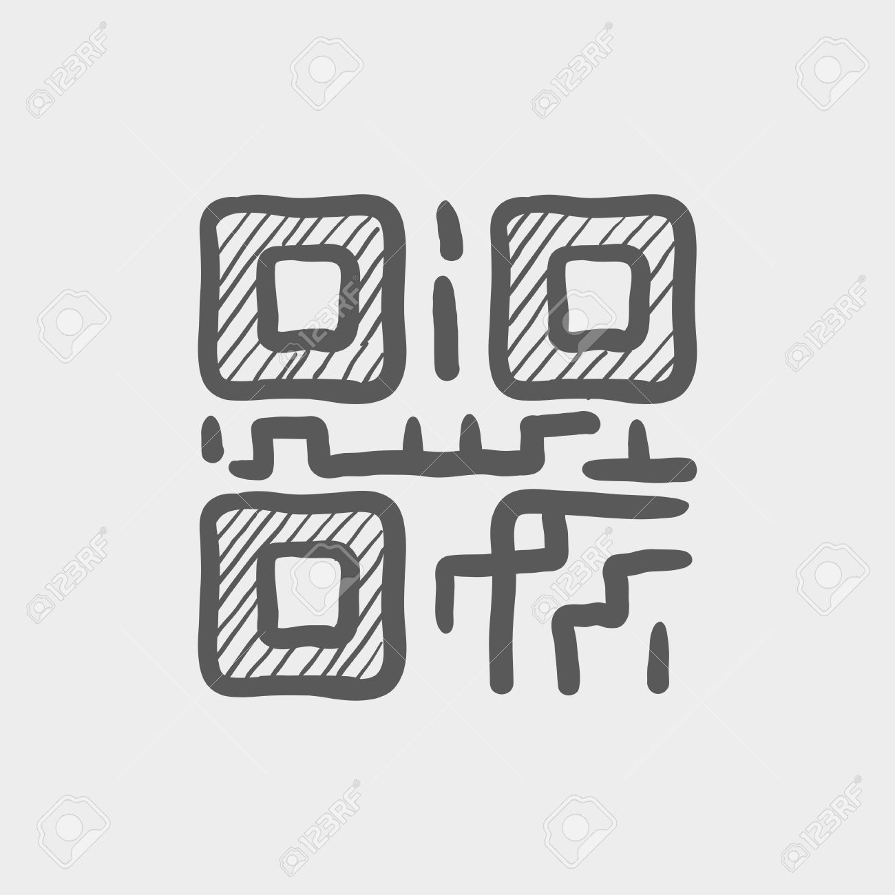 Qr Code Sketch Icon For Web And Mobile Hand Drawn Vector Dark