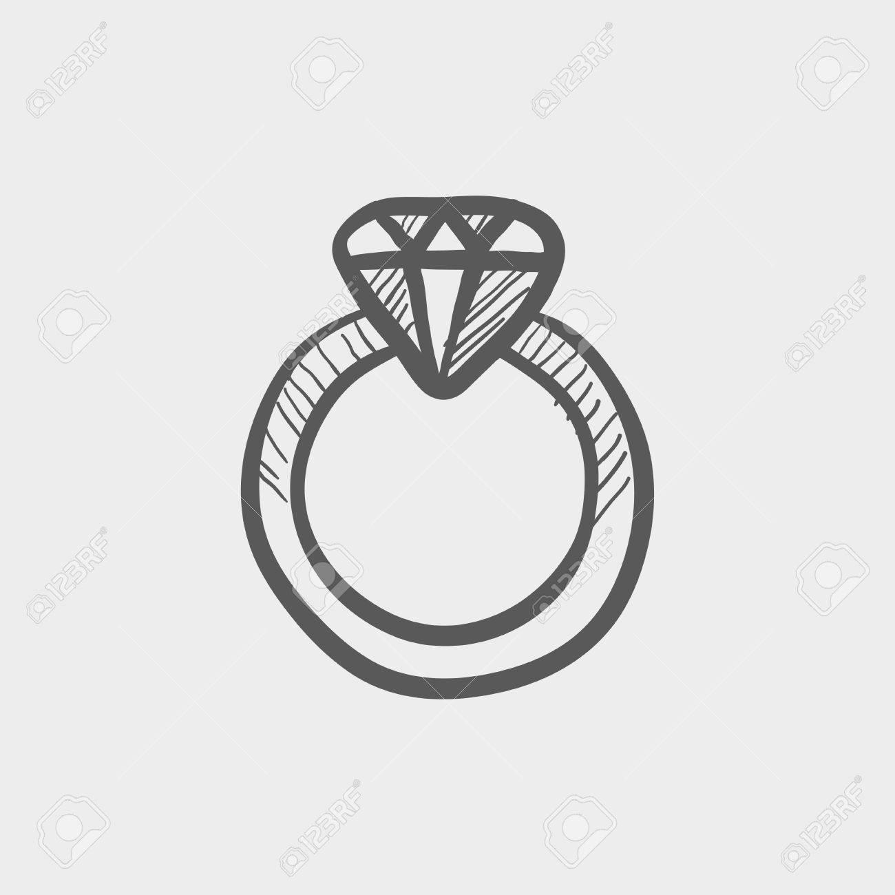 Diamantring gezeichnet  Diamantring Skizze Symbol Für Web Und Mobile. Hand Gezeichnet ...