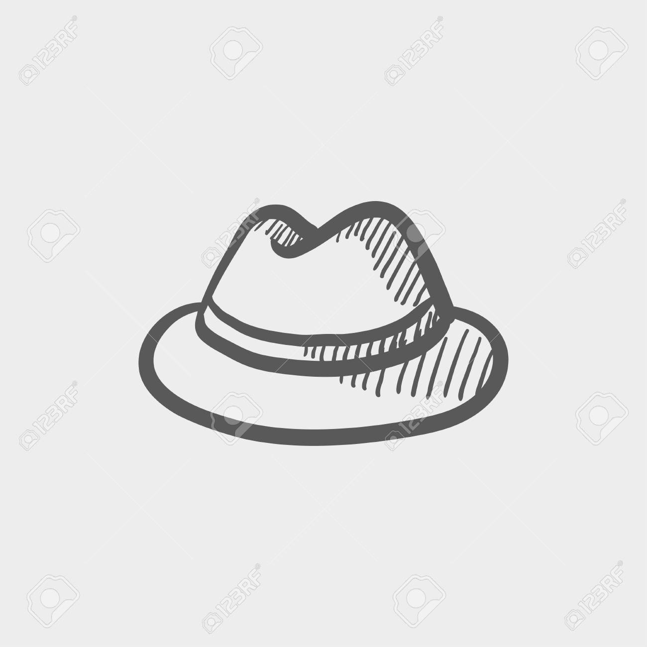 5a748857032 Classic hat sketch icon for web and mobile. Hand drawn vector dark grey icon  on